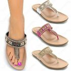 LADIES DIAMANTE GOLD T BAR SANDALS WOMENS FLIP FLOP TOE POST SHOES FLAT THONG