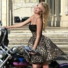 Sexy Women Lace Strapless Leopard Casual Cocktail Party Mini Dress Vogue