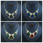 Fashion Women Enamel Chunky Statement Bib Pendant Chain Choker Necklace Jewelry