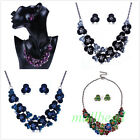 Fashion Lady Flower Cluster Charm Choker Chunky Statement Bib Necklace Jewelry