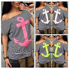 New Fashion Women Summer Striped T-shirt Batwing Short Sleeve Loose Tops Blouse