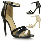 Womens Ladies High Heel Ankle Strap Peep Toe Barely There Stiletto Sandals Shoes