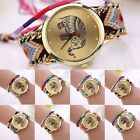 Women Stunning Geneva Elephant Ethnic Braided Analog Quartz Chain Bracelet Watch
