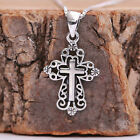 925 Sterling Silver Filigree Dainty Cross Pendant Necklace Handcraft w Gift Box