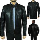 New Mens Motorbiker Bomber Style Sheep Real Leather Jacket - Size S M L XL 2XL