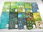 "NEW BATIK cotton fabric 4 unique fat quarters ~18x22"" or 1 yd greens/teals India"
