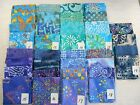 "NEW BATIK cotton fabric 4 unique fat quarters ~18x22"" or 1 yd blues/aquas India"