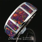 US SIZE 6-10 SIMPLE LAB BLACK CHERRY RED FIRE OPAL SILVER SF JEWELRY BAND RING