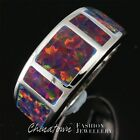 Simple Black Cherry Red Fire Opal Inlay Silver Jewelry Band Ring Size 6 7 8 9 10