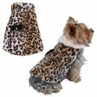 LUXURY Pet Dogs Coat Brown Leopard Faux Fur Jacket Winter Warm Clothes puppy