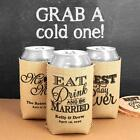6 Personalized Wedding Bridal Baby Shower Can Cooler Burlap Koozie