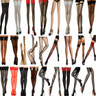 Stockings Hold Ups Sheer Fishnet Lace Seamed Tights Burlesque Lingerie Stripe