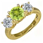 2.20 Ct Round Yellow Lemon Quartz I/J Diamond 18K Yellow Gold Plated Silver Ring