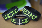 "SUICIDE SILENCE Silicone 1"" Wide Filled in Colour Black Wristband Bracelet"