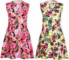 Womens Plus Size Floral Print Ladies Sleeveless Keyhole Flare Skater Swing Dress