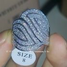 140pcs topaz Sz6/7/8/9 Luxury Jewelry 10kt white gold filled Wedding Ring gift