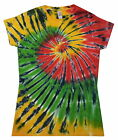 Ladies Tie Dye T Shirt  Rasta Spiral, Hand dyed in the UK by Sunshine Clothing