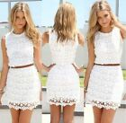Womens Sundress White Summer Casual Dresses Sleeveless Cocktail Party Mini Dress