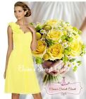ASHA Lemon Yellow / Various Colours Knee Chiffon Bridesmaid Dress UK 6-18