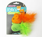 Cat Toy-Card/2 Blue/Pink, Green/Orange Knitted Mice Feather Tails Chomper Kylie