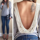 Sexy Women Backless Casual Long Sleeve Fashion Lace Blouse T-shrit Tops