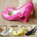 New Girls Women's Wedge Pumps High Heel Side Bowknot Newest Shoes Nice