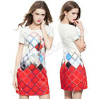 Women's Summer Floral Decor Print BOHEMIA Short Sleeve party Skirt Chiffon Dress