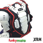 ADULT BODY ARMOUR JACKET XTRM WHITE RED DEFLECTOR PROTECTION MX ENDURO MOTOCROSS