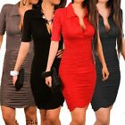 Fashion Women Sexy Short Sleeve Cocktail Pleated Pencil Bodycon Party Mini Dress
