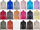 Ladies Roll Necks Tops Womens Polo Necks Plain Winter Ski Stretch Jersey Cotton