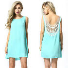 Sexy Summer Lace Dress Women Loose Cotton Party Dress Casual Backless Mini Dress