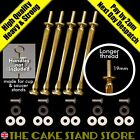 5 x Long Thread Gold Cake Stand Rods + bolts, metal washers & plastic washers