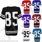 LADIES RUGBY TOP T-SHIRT 85 OVERSIZE VARSITY JERSEY CASUAL SWEAT SIZE 8-14