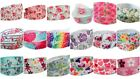 3m/6m/12m FLORAL FLOWERS White Pink 22mm wide Crafts Grosgrain Gift Wrap Ribbon