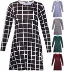 Womens Plus Size Printed Ladies Stretch Long Sleeve Flare Swing Dress Jumper Top
