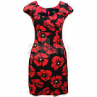 Ladies K&D London Black & Red Poppy Cotton Summer Sun Dress Smart Wedding Casual