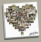 """PERSONALISED HEART SHAPED PHOTO COLLAGEFRAMED CANVAS PRINT XL 30""""x30"""""""