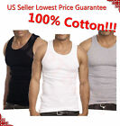 3-6 Packs Mens 100% Cotton Tank Top A-Shirt Wife-Beater Undershirt Ribbed Black