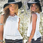 Hot Women Summer Lace Chiffon Blouse Tank Tops Sleeveless White Beach Shirt Vest