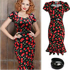 Womens Rockabilly Mermaid Pencil Dress Evening Party Cocktail Wiggle Ladies New