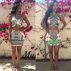 2015 Women Sexy Clubwear Floral Playsuit Bodycon Cocktail Summer Party Dress Set