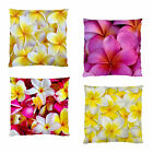 NEW~FRANGIPANI YELLOW PINK SMOOTH FIRM FEEL HOME DECOR CUSHION CASE~2SIDE PRINT