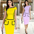 Yellow/Lilac New Stock SUMMER Casual Women Short Sleeve Party PROM Pencil Dress