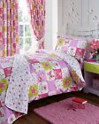PATCHWORK DUVET QUILT COVER FLORAL BUTTERFLY GIRLS BEDDING BED SET PINK LILAC