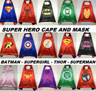 Superhero Cape Mask Cape & Mask Batman Superman Bat Girl Thor Hulk For Kids