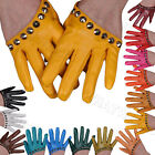 Fashion Women's Rivet Faux Leather Half Palm Half Five Finger Mittens Glove IDE