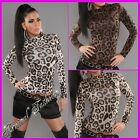 NEW SEXY LEOPARD PRINT TURTLENECK TOPS for women CASUAL FASHION 8 10 12 sz S M L