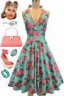 50s Style Maggie May LT. AQUA ROSE FLORAL Pinup HALTER Sun Dress with Full Skirt
