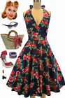50s Style Maggie May NAVY & RED ROSE FLORAL Pinup HALTER Sun Dress w/Full Skirt