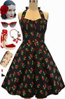 PLUS SIZE 50s Style Black CHERRY BOMB Cherries Pinup Betty HALTER TOP Sun Dress